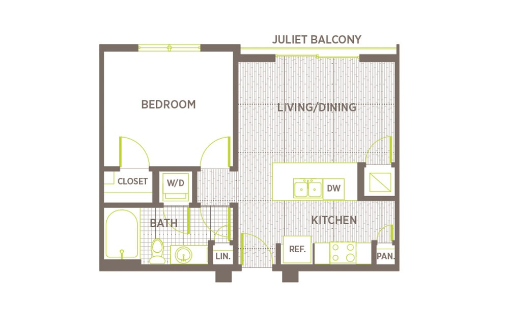 A1 - 1 bedroom floorplan layout with 1 bath and 592 square feet.