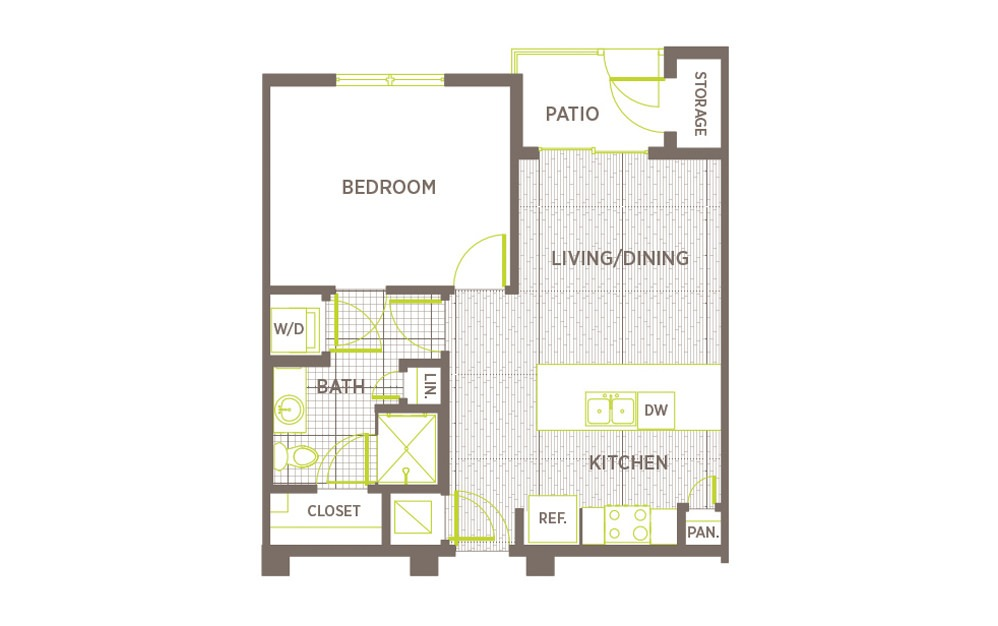 A2 - 1 bedroom floorplan layout with 1 bath and 620 square feet.