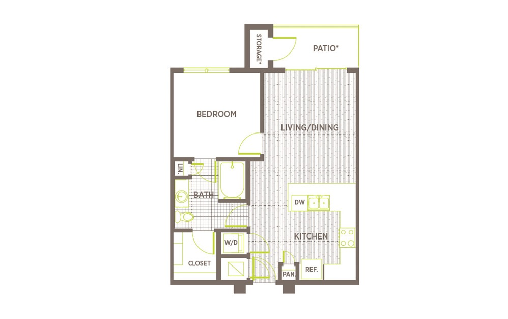 A3 - 1 bedroom floorplan layout with 1 bath and 677 square feet.