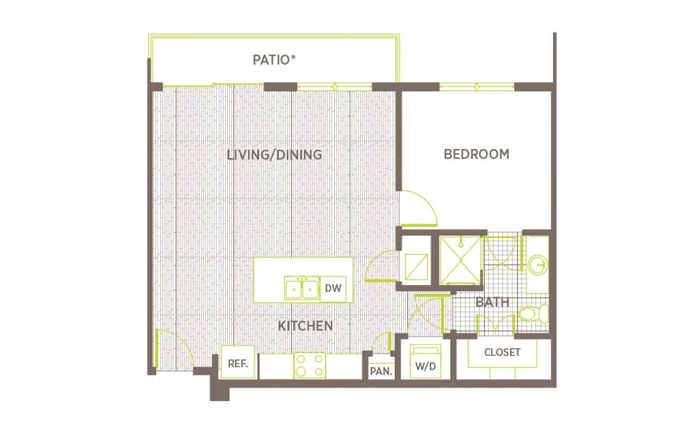 A4 - 1 bedroom floorplan layout with 1 bath and 730 to 765 square feet.