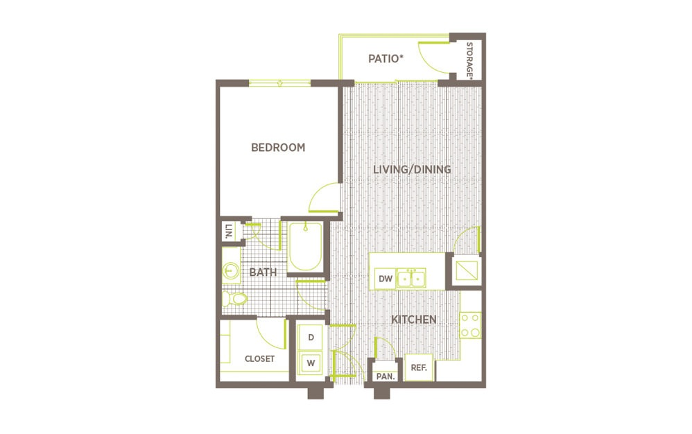 A5 - 1 bedroom floorplan layout with 1 bath and 760 square feet.