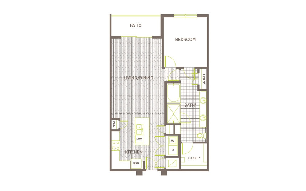 A6 - 1 bedroom floorplan layout with 1 bath and 940 square feet.