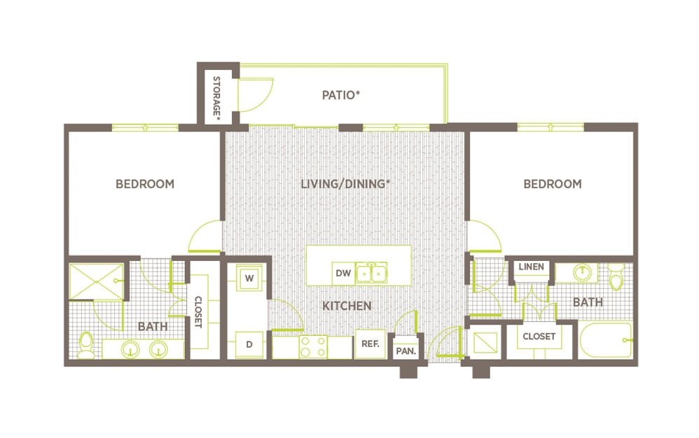 B1 - 2 bedroom floorplan layout with 2 baths and 1087 to 1181 square feet.