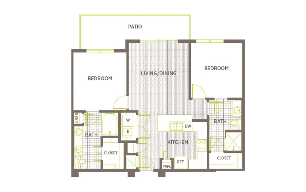 B2 - 2 bedroom floorplan layout with 2 baths and 996 square feet.