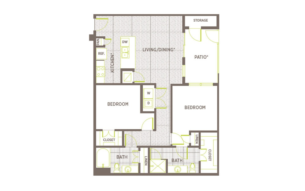 B3 - 2 bedroom floorplan layout with 2 baths and 1067 to 1196 square feet.