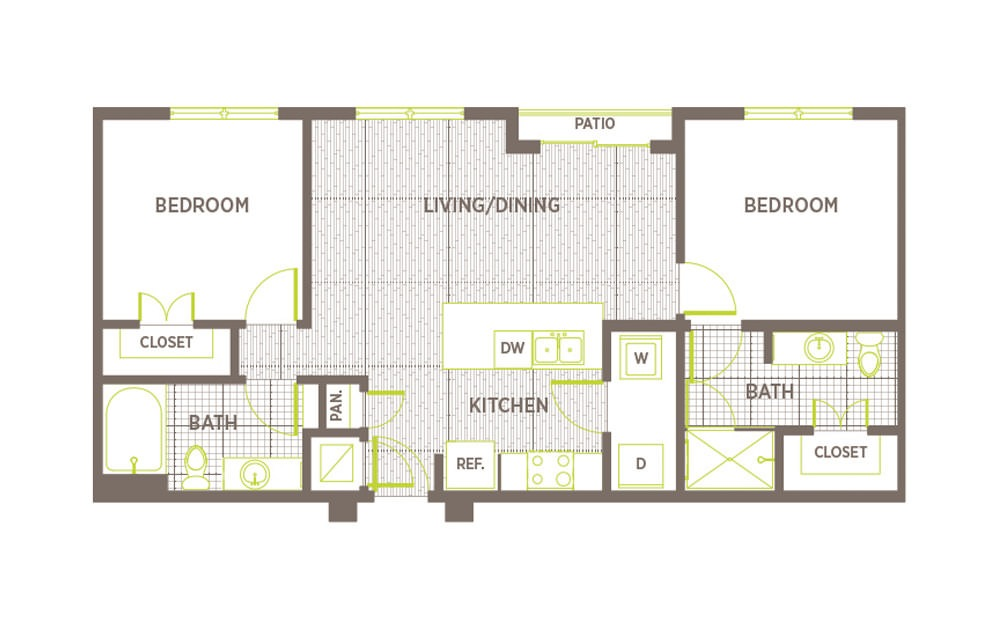B4 - 2 bedroom floorplan layout with 2 baths and 925 square feet.
