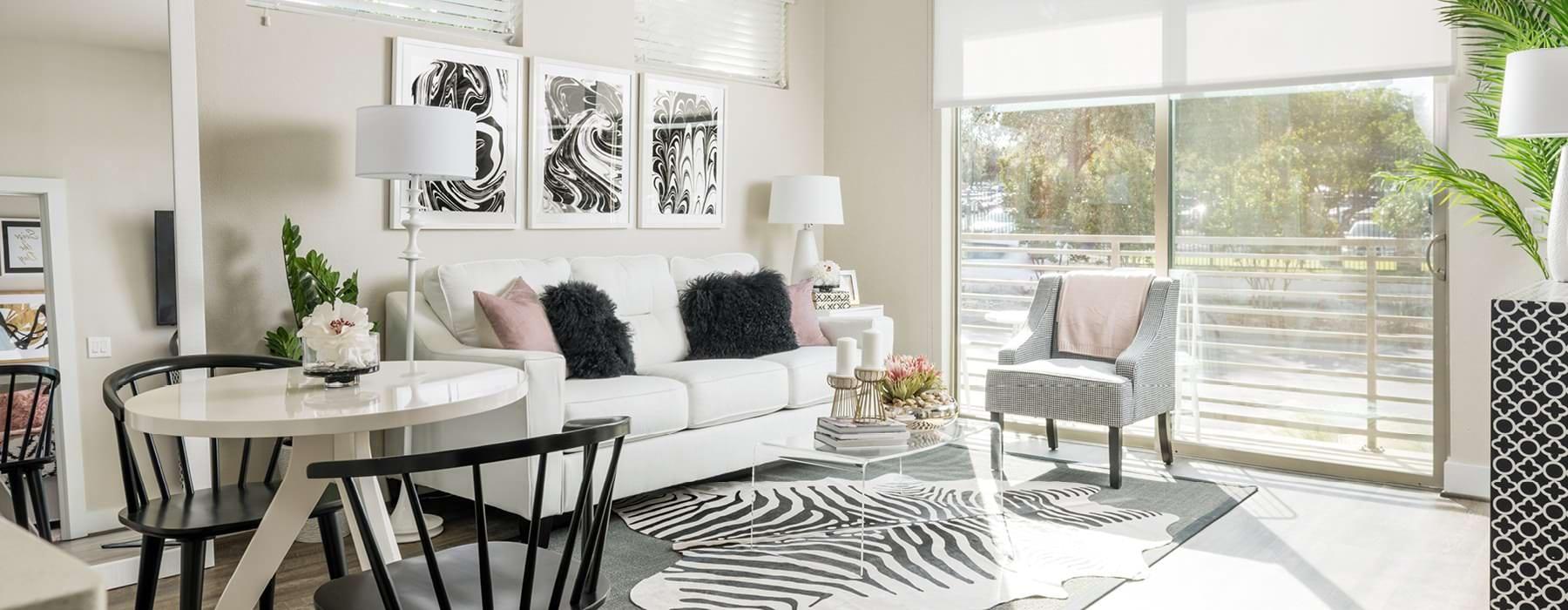 large sliding glass door brightens spacious living room